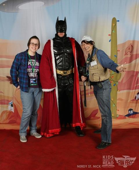Merry Christmas from your Hometown Geeks (Liz, Bat Santa, and Deb) at Phoenix FanFest 2015!
