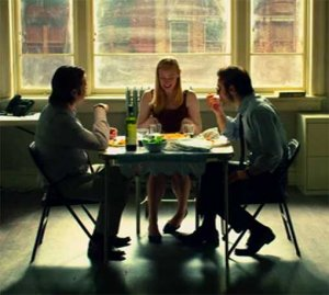 Daredevil's Foggy, Karen, and Matt at dinner table
