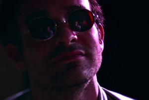 Karen reflected in Matt Murdock's glasses in Daredevil
